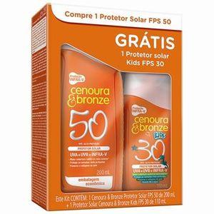 Kit-Protetor-Solar-Cenoura---Bronze-Infra-V-Fps-50-200mL---Kids-Fps-30-110mL