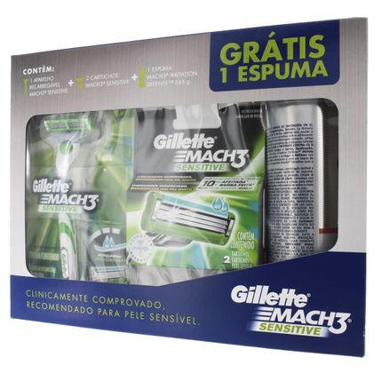 Kit-Gillette-Mach-3-Sensitive-Aparelho-Cartucho-Espuma
