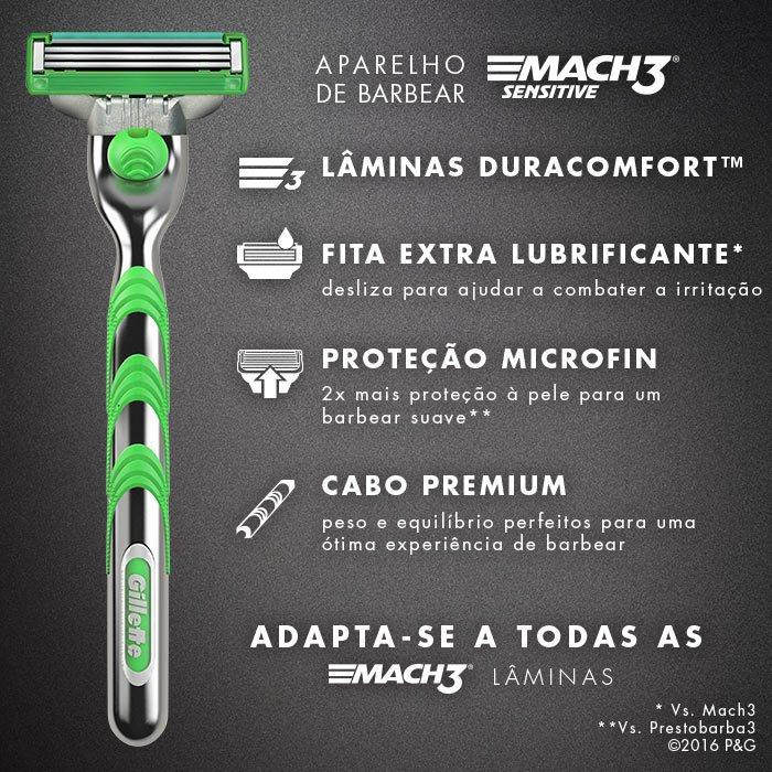 Aparelho Gillette Mach3 Sensitive