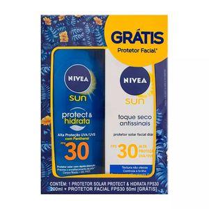 Protetor-Solar-Nivea-Sun-Protect---Hidrata-FPS-30-Locao-200ml---Gratis-Protetor-Solar-Facial-FPS-30-50ml
