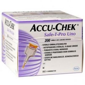 Lancetas-Esterilizadas-Accu-Chek-Safe-T-Pro-Uno-c-1-Diametro-da-Agulha-28g-0.36mm