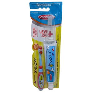 kit-escova-dental-massageadora-creme-dental-condor-snoopy-extra-macia-0-2-anos