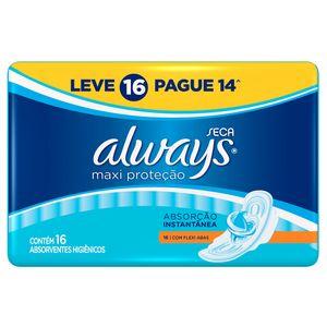 absorvente-always-maxi-protecao-cobertura-seca-abas-leve-16-pague-14-unidades