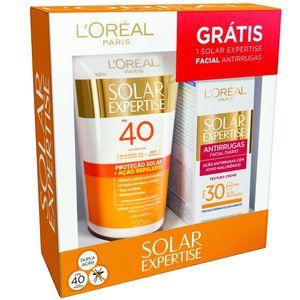 Protetor-Solar-L-oreal-Solar-Expertise-Acao-Repelente-FPS-40-120ml---Gratis-Solar-Expertise-Facial-Antirrugas-25g