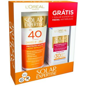 Protetor-Solar-L-oreal-Solar-Expertise-Acao-Repelente-FPS-40-200ml---Gratis-Solar-Expertise-Facial-Antirrugas-25g