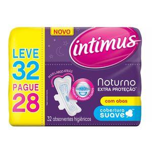 Absorvente-Intimus-Noturno-Extra-Protecao-Cobertura-Suave-com-Abas-Leve-32-Pague-28-Unidades