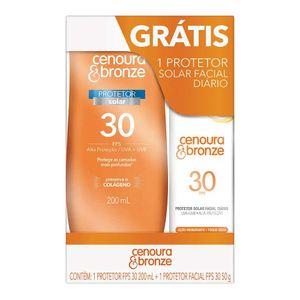 Kit-Protetor-Solar-Cenoura---Bronze-FPS-30-Locao-200ml---Gratis-Protetor-Solar-Facial-FPS-30-50g