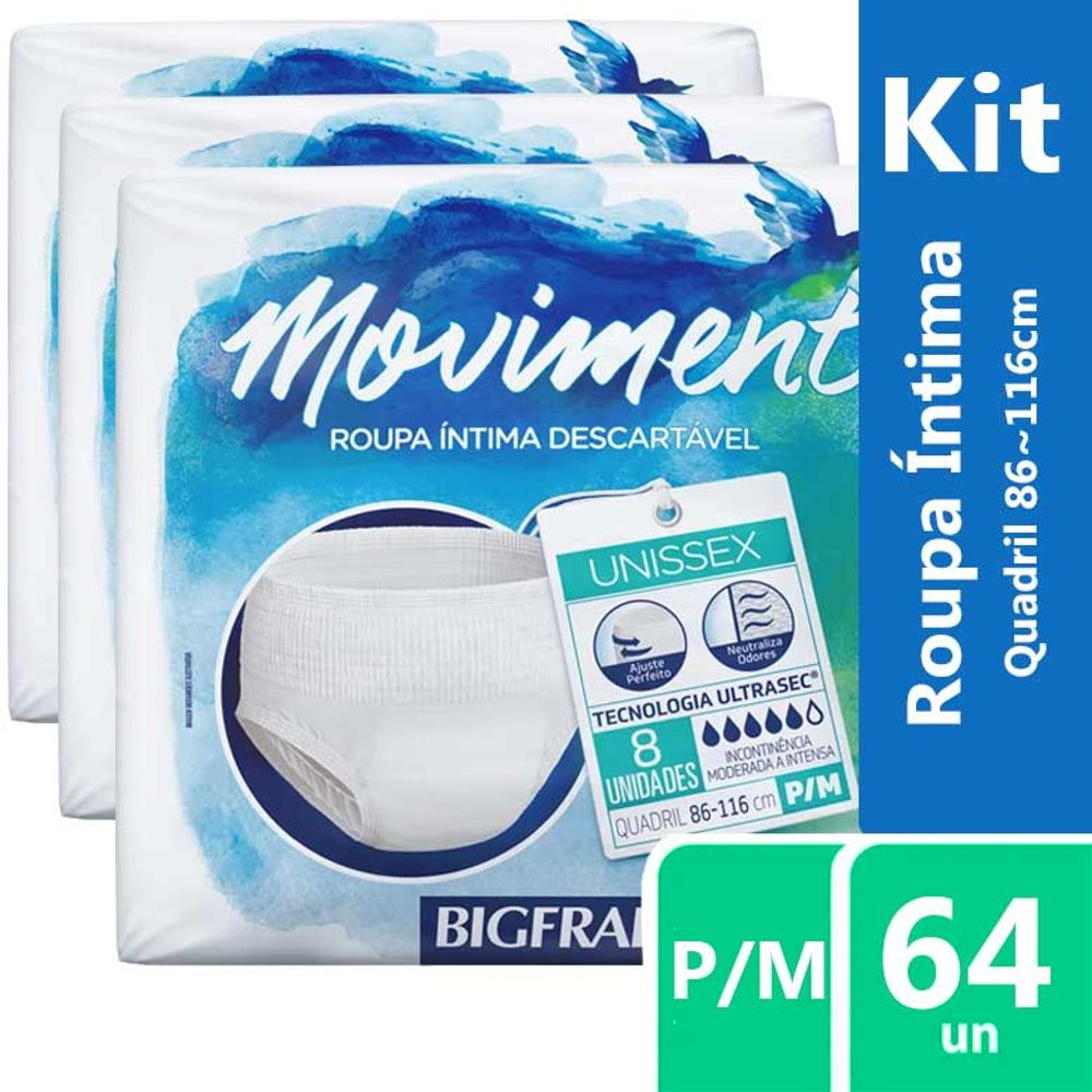 59f3196f8 Kit Roupa Intima Descartavel Bigfral Moviment P M 8 Unidades - Farma 22