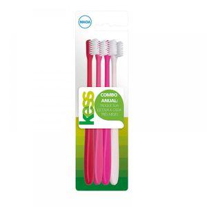 kit-escova-dental-kess-combo-anual-macia-cores-sortidas-4-unidades