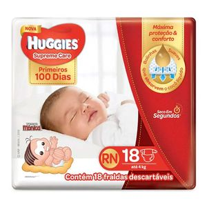 Fralda-Descartavel-Huggies-Supreme-Care-Recem-Nascido-RN-18-Unidades