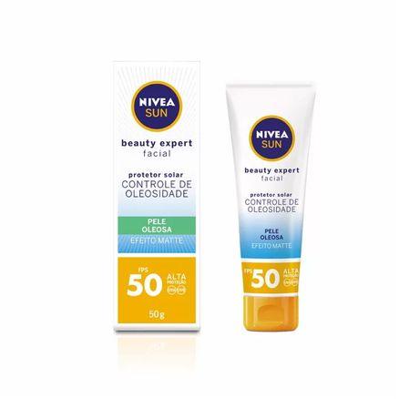 Protetor-Solar-Nivea-Sun-Beauty-Expert-Facial-Pele-Oleosa-FPS-50-Efeito-Matte-50g