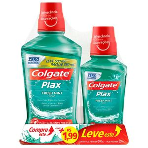 Kit-Enxaguante-Bucal-Colgate-Plax-Fresh-Mint-com-Fluor-sem-Alcool-Leve-500ml-Pague-350ml-e-Por---199-Leve-250ml