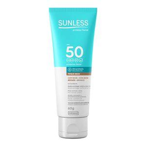 Protetor-Solar-Sunless-com-Base-Bronze-FPS-50-Toque-Seco-60g