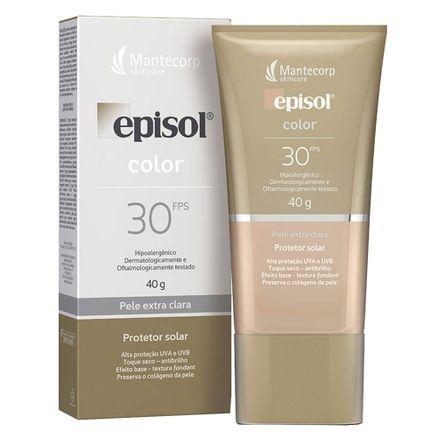 Protetor-Solar-Episol-Color-Pele-Extra-Clara-FPS-30-Locao-com-Efeito-de-Base-40g