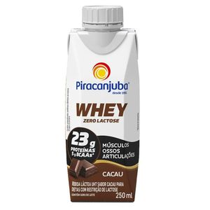 Bebida Láctea Piracanjuba Whey Zero Lactose Sabor Cacau 250ml