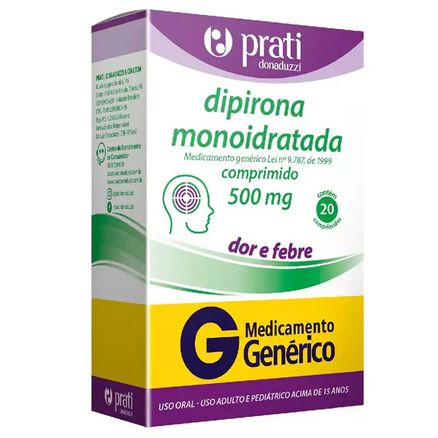 Dipirona-Monoidratada-500mg-20-comprimidos-Generico-Prati-Donaduzzi